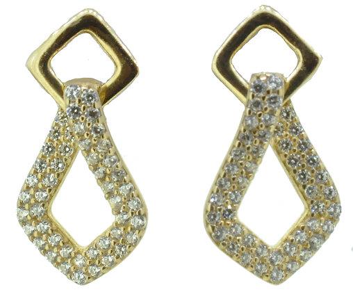 9ct Yellow Gold CZ Drop Earrings