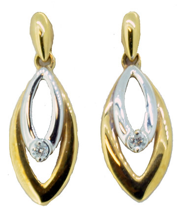 18ct yellow and white gold diamond drop earrings