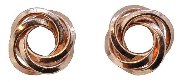 9ct rose gold round twist stud earrings
