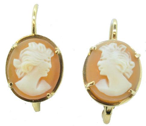 Yellow Gold Cameo Drop Earrings