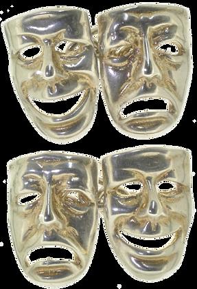 Silver theater mask cufflinks