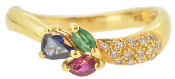 18ct yellow gold multi-stone ring front view