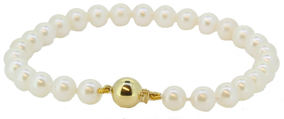 9ct yellow gold cultured pearl bracelet clasp view