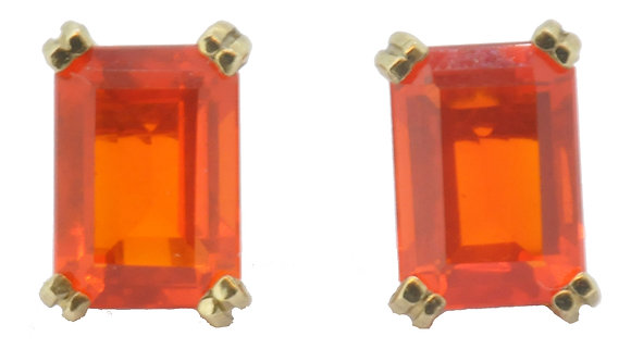 9ct yellow gold fire opal stud earrings front view