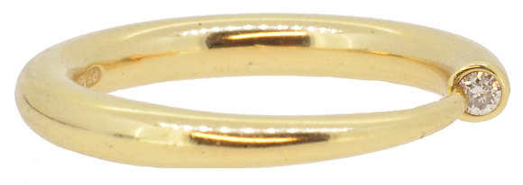 18ct yellow gold diamond tube ring front view