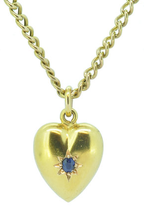 Antique Yellow Gold Heart Sapphire Pendant