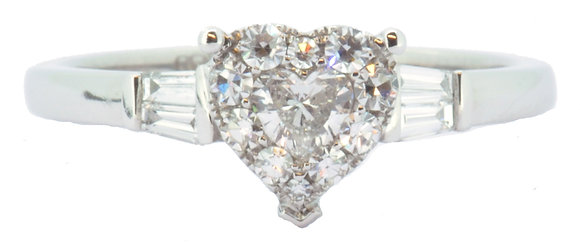 18ct white gold 0.50ct diamond heart cluster ring front view