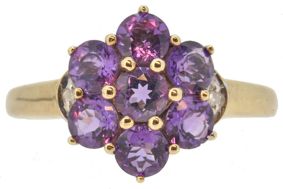 9ct yellow gold amethyst cluster ring front view