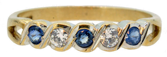 9ct Yellow Gold Sapphire and CZ Ring