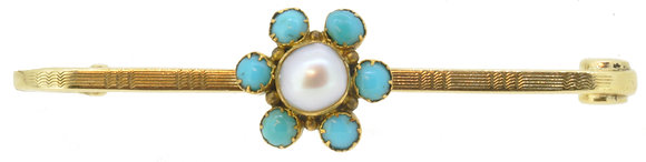 Antique 15ct Yellow Gold Pearl & Turquoise Bar Brooch