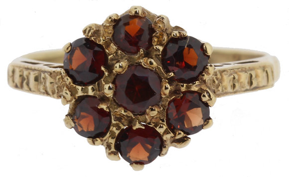 Yellow Gold Garnet Ring Front View