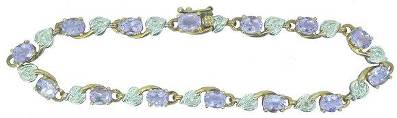 Yellow Gold Amethyst and Diamond Bracelet