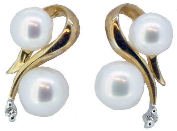 Yellow Gold Freshwater Pearl and Diamond Stud Earrings