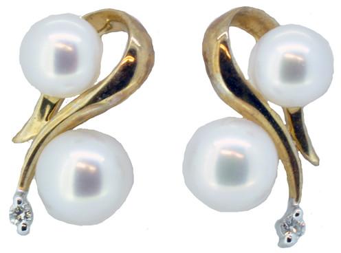 271b2398b 9ct Yellow Gold Freshwater Pearl & Diamond Stud Earrings