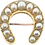 Antique gold horseshoe pearl and diamond brooch front view
