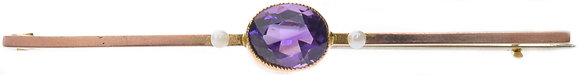 Antique gold amethyst and pearl brooch front view