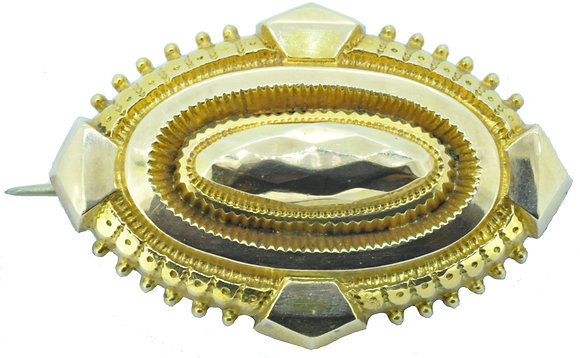 Antique 9ct yellow gold brooch front view