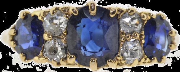 Antique 18ct Gold Sapphire & Diamond Ring