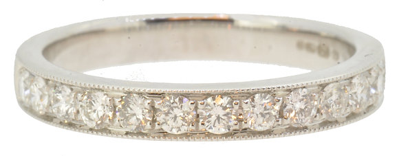 White Gold 0.51ct Diamond Half Eternity Ring Front View