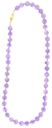 9ct yellow gold amethyst bead necklace