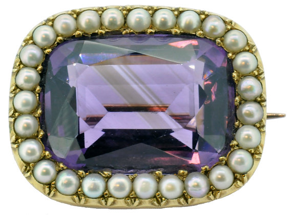 15ct yellow gold amethyst and pearl brooch front view