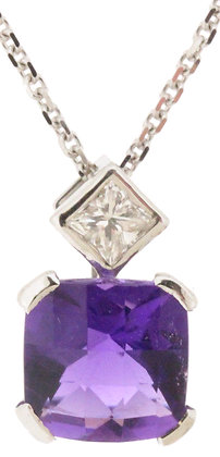 18ct white gold amethyst and diamond necklace