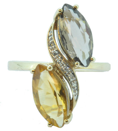 9ct yellow gold citrine and smokey quartz cross-over ring front view