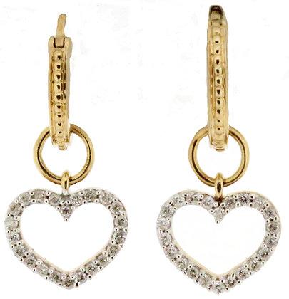 9ct gold diamond heart earrings