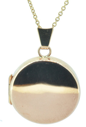 9ct rose gold round plain locket