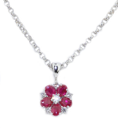 18ct white gold ruby and diamond flower necklace