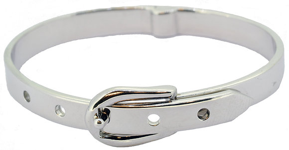 9ct white gold baby buckle bangle front view