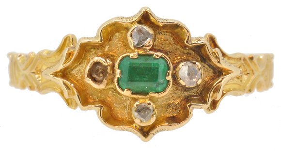Antique gold emerald and diamond ring front view