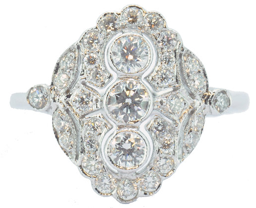 18ct white gold 0.74ct diamond cluster ring front view