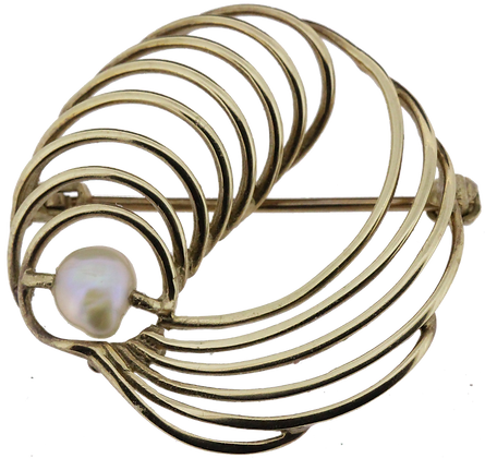 9ct yellow gold pearl brooch front view