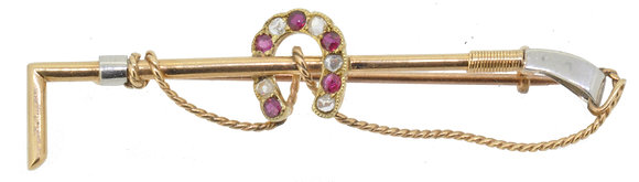antique gold ruby and diamond riding crop brooch front view