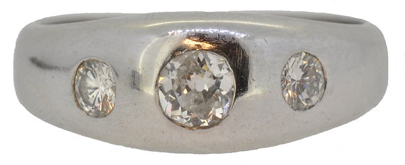 14ct White Gold 3 Stone Diamond Band Ring
