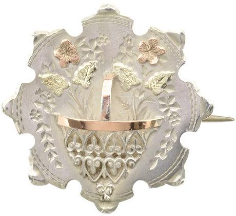 Antique Silver Flower Basket Brooch