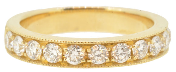 18ct Yellow Gold 0.73ct Diamond Half Eternity Ring
