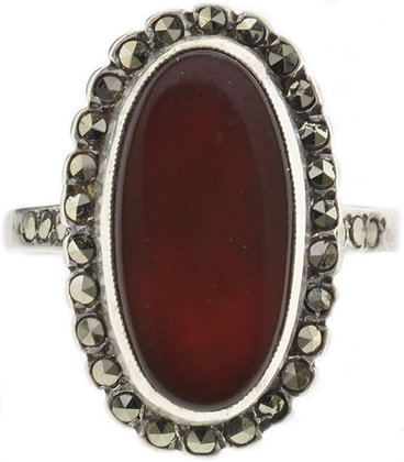 Vintage Silver Cornelian & Marcasite Ring