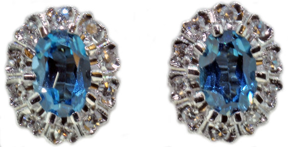 18ct gold blue topaz and diamond stud earrings