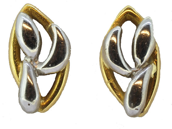 18ct gold two colour stud earrings