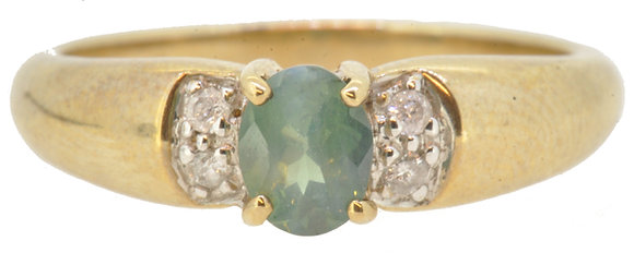 9ct yellow gold alexandriate and diamond ring front view