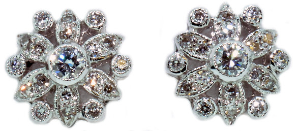 18ct white gold 0.30ct diamond stud earrings front view