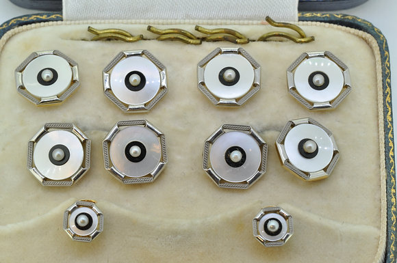 antique gold and platinum mother of pearl dress set