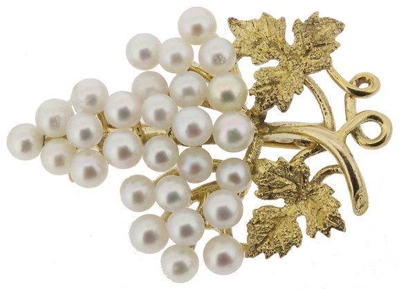 9ct yellow gold cultured pearl grape brooch