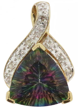 9ct gold mystic topaz and diamond pendant