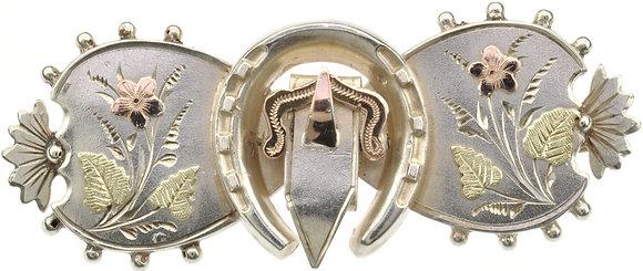 Antique Silver Buckle Horseshoe Brooch