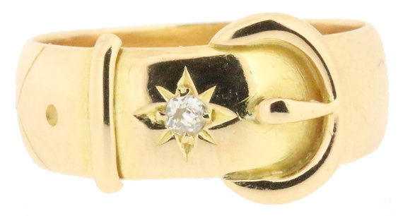 Antique 18ct yellow gold diamond buckle ring front view