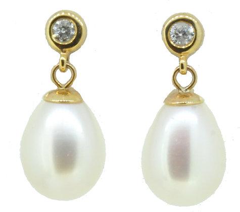 9ct Yellow Gold Pearl & Diamond Drop Earrings