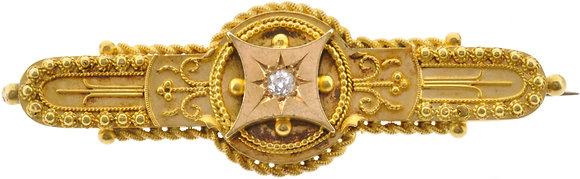 Antique 15ct yellow gold diamond brooch front view